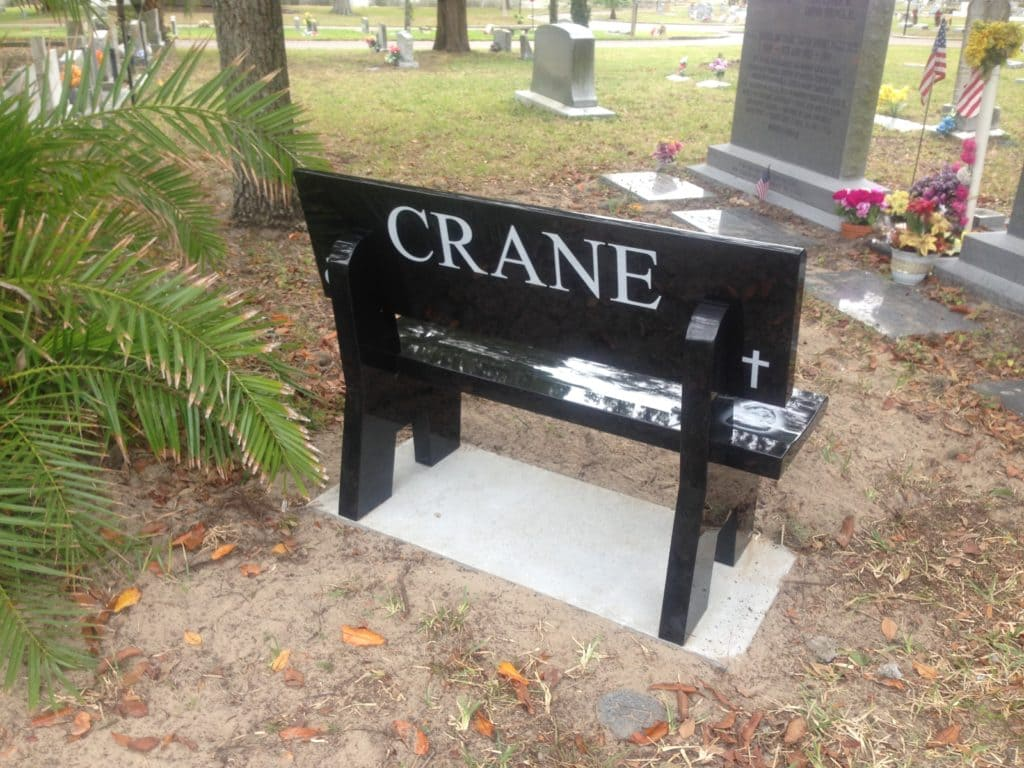 Black Laser Etched Bench With Back Cycadia Cemetery Tarpon Springs, Fl