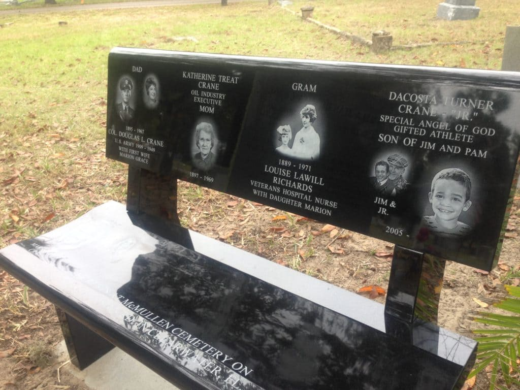Black Laser Etched Bench Seat With Back Cycadia Cemetery Tarpon Springs, Fl