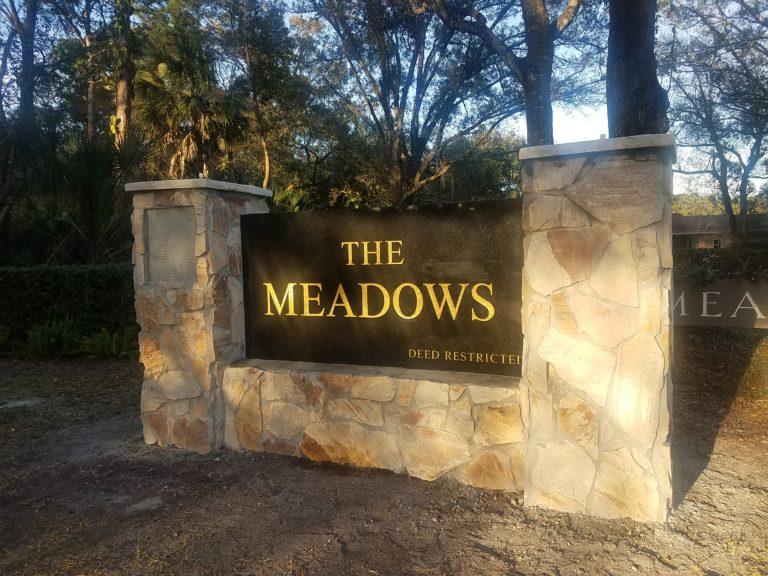 The Meadows neighborhood sign entrance