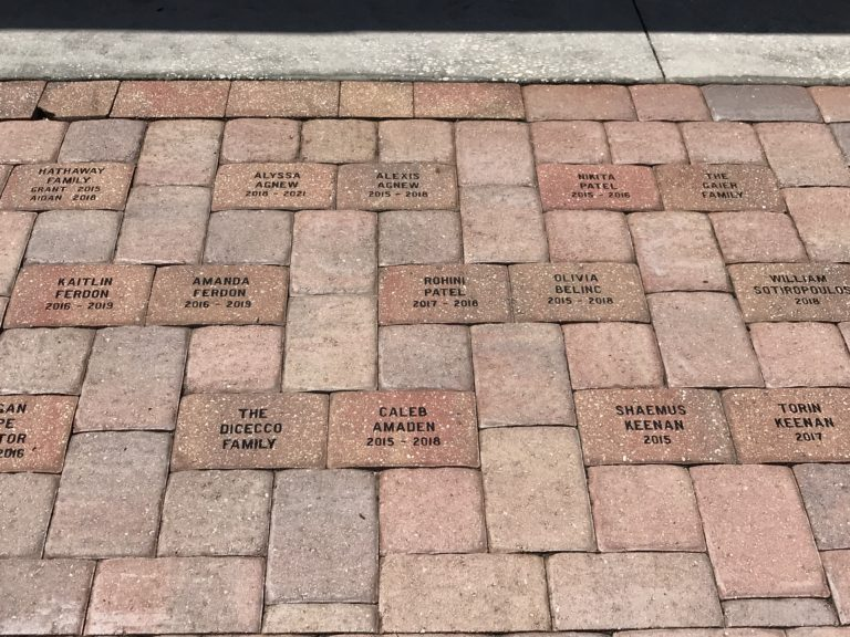 Engraved Sandblasted Paver bricks sidewalk school fundraiser, Tampa