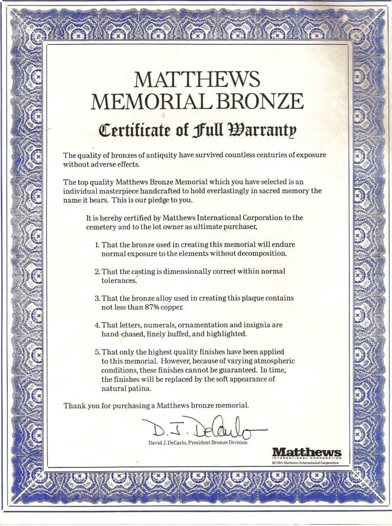 matthews_bronze_warranty
