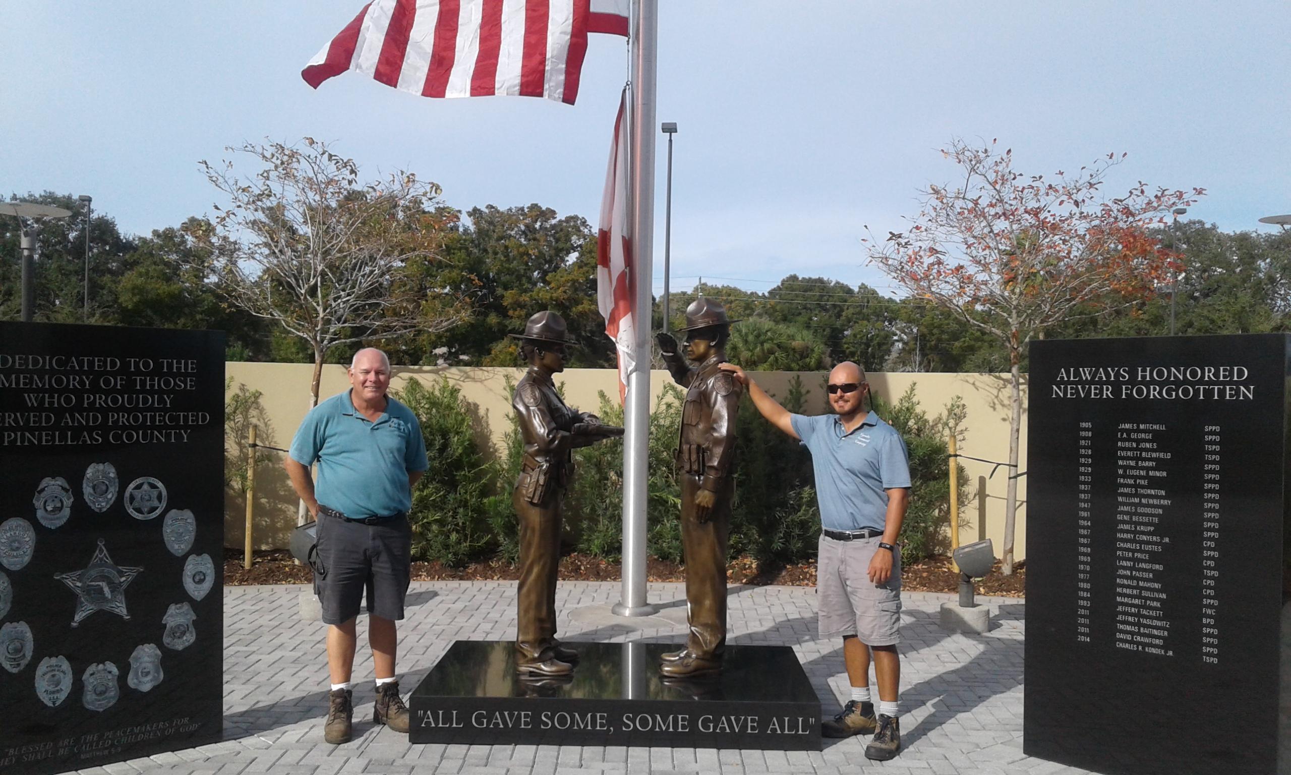 Black Granite Fallen Officer Memorial Bronze Statues Pinellas County Sheriff