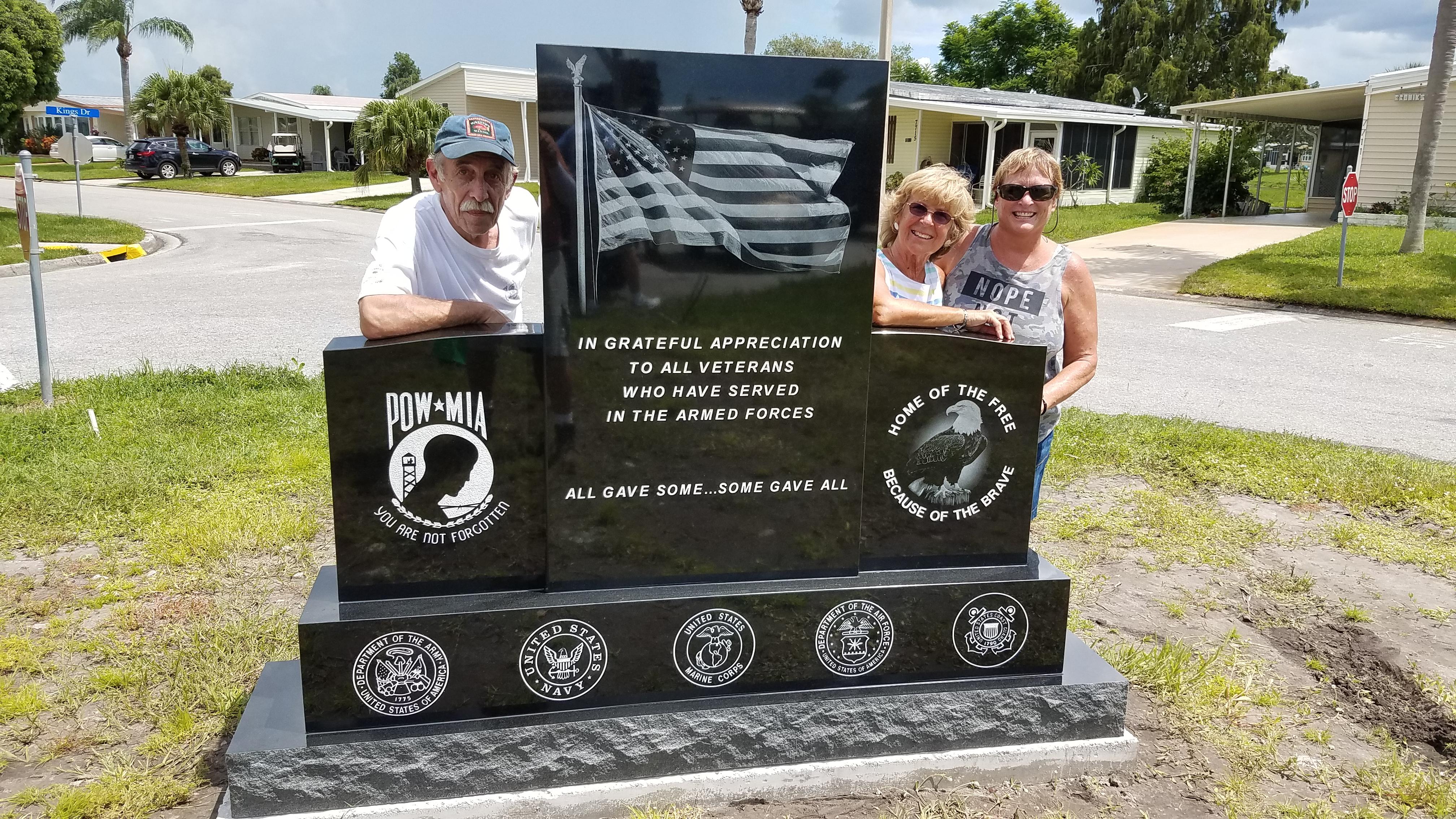Veterans Laser etched monument Ellenton, Fl