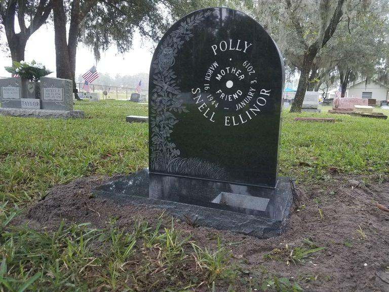 Black custom headstone laser etched owl birds , Keystone Church Cemetery