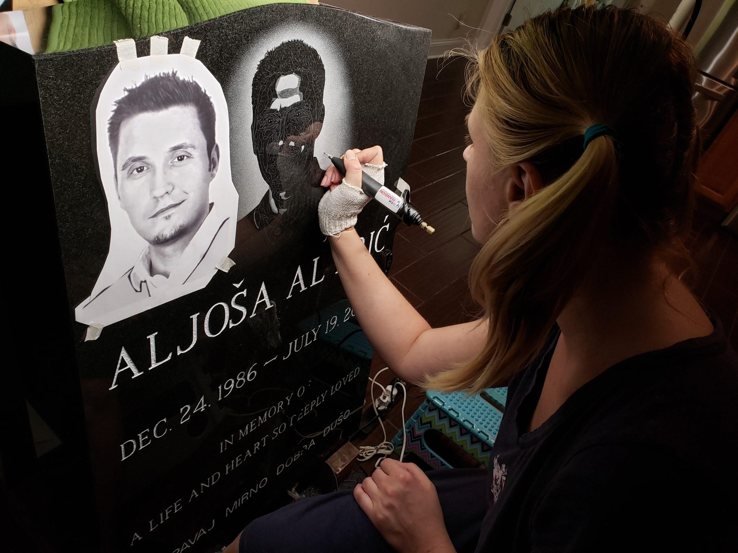 custom hand etched portrait memorial art
