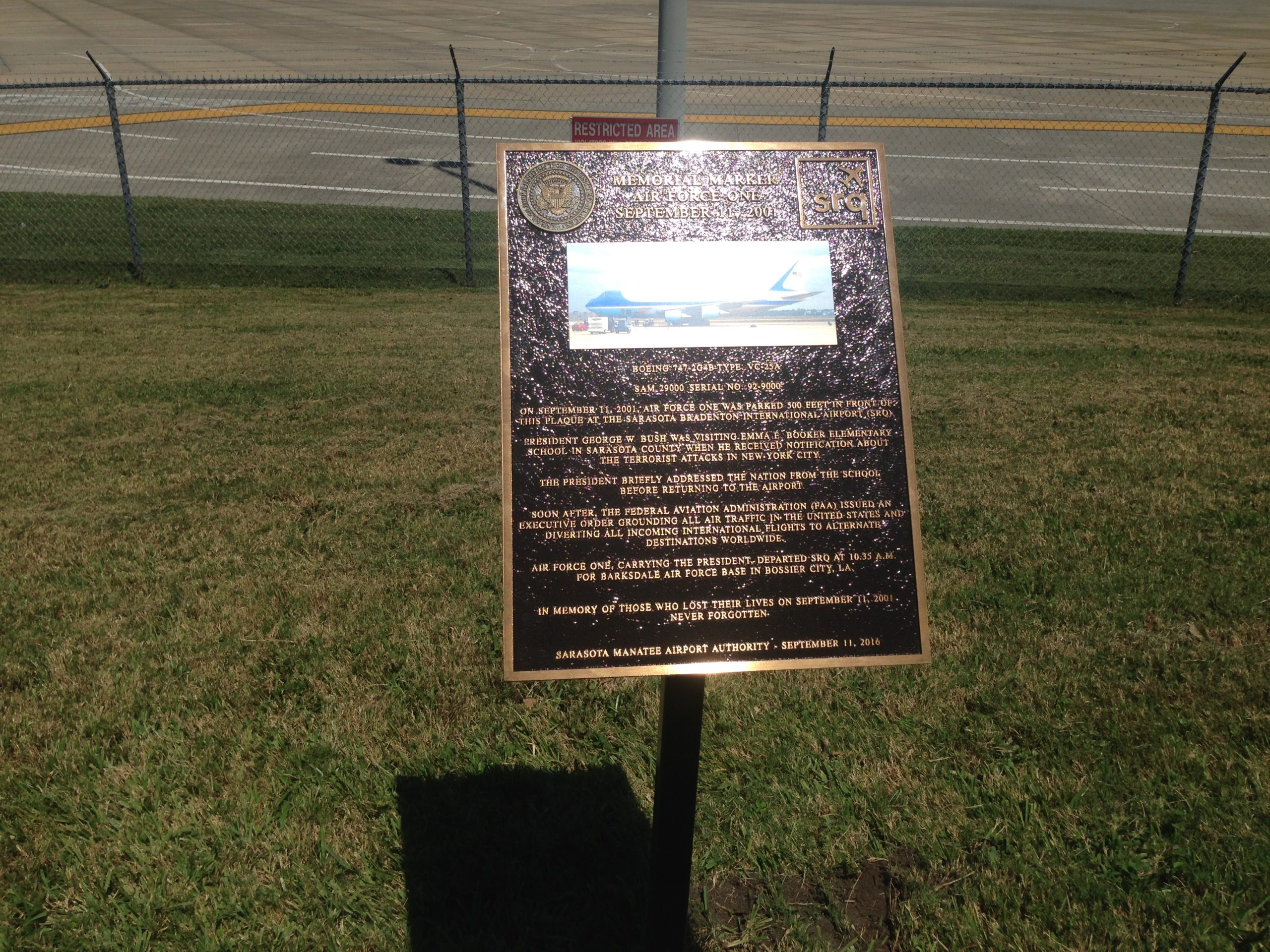 September 11, 2001 bronze plaque memorial Sarasota Airport